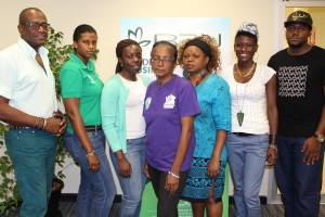 Tobago's contingent of talented designers participating in Caribbean Fashion Week 2015 hosted in Kingston, Jamaica. From left to right: Ted Arthur, Camille Khan, Kristy Warner on behalf of Cherie Warner, Lydia Arneaud-Lawrence, Juliet Bernard, Cassey Daniel and Kirsten Benjamin.