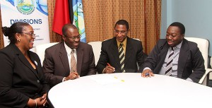 Officials attend the signing of the 199-year lease that will allow the Industrial Court of Trinidad and Tobago to operate in Tobago. In photo, from left, are court systems administrator Youland Robinson, Tobago House of Assembly (THA) Chief Administrator Raye Sandy, Industrial Court registrar Noel Inniss and THA legal officer Kimba Anderson. Photo courtesy THA Info Dept