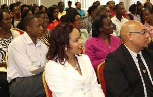 Participants listen keenly to the IPO presentations made at the NGL Initial Public Offering Seminar held at the Victor E. Bruce Financial Complex. Among the seated guests were Unit Trust Corporation's Vice President of Advisory Services- Mrs. Amoy Van Lowe and Sales Manager- Mr. Omar Holder as well as the Director of Finance, Mrs. Esther Pilgrim Soanes.