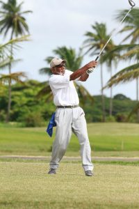Former West Indies Cricketer Golfer Deryck Murray on the drive.